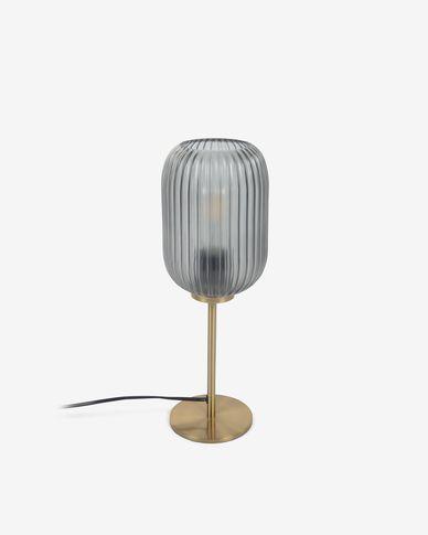 Tafellamp Hestia in metaal met koperen finish en grijs glas