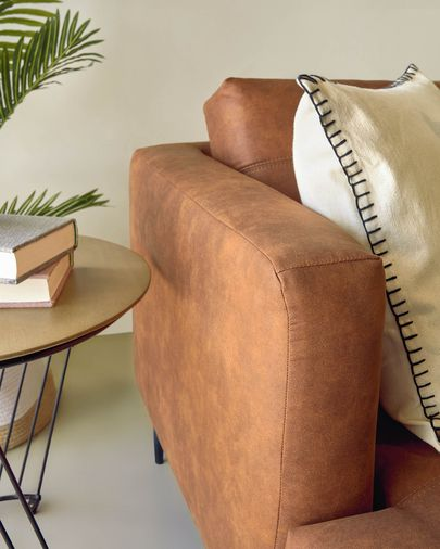 Tanya 2-seater sofa covered in light brown fabric 183 cm