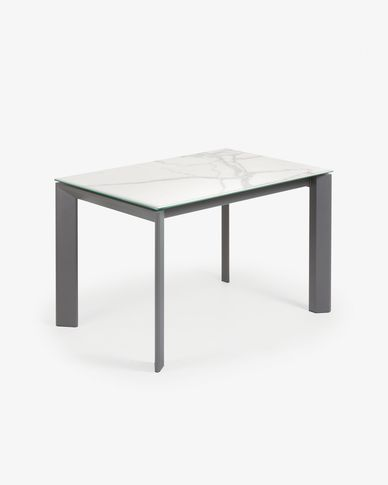 Table extensible Axis 120 (180) cm grès cérame finition Kalos Blanc pieds anthracite