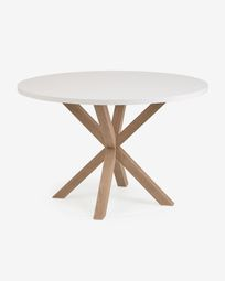 Full Argo round Ø 119 cm white melamine table with steel legs with wood-effect finish