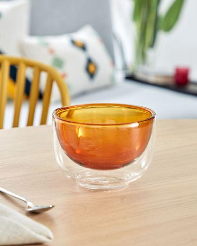Bol Braulia taronja de vidre taronja i transparent