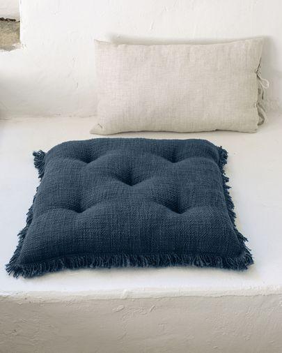 Coussin de chaise Brunela 100% coton bleu 45 x 45 cm