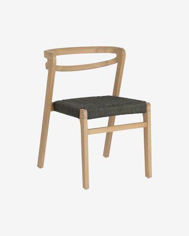 Krzesło Ezilda lite drewno eukaliptusowe i zielona lina 100% FSC