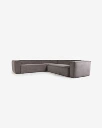Blok 4-seater corner sofa in grey corduroy, 290 x 290 cm