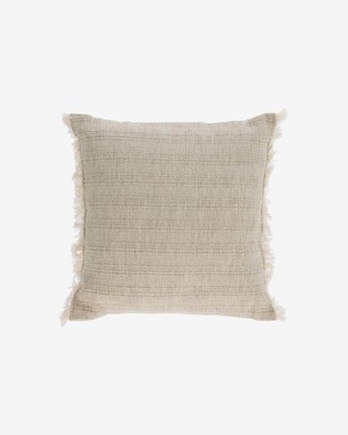 Capa almofada Ailen algodão e linho franjas bege 45 x 45 cm