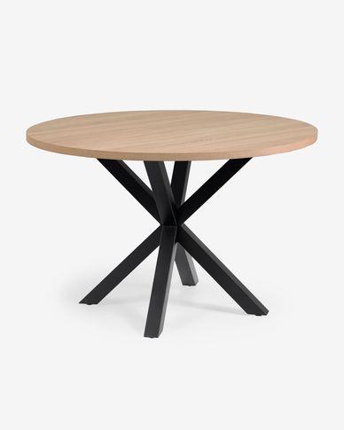 Full Argo round Ø 119 cm melamine table with steel legs with black finish