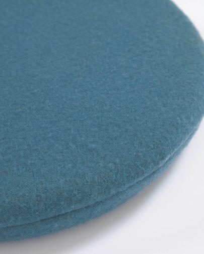 Cojín para silla redondo Biasina 100% lana azul Ø 35 cm