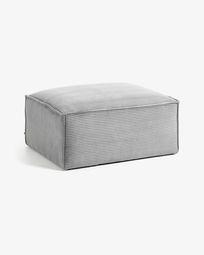 Blok footstool in grey corduroy, 90 x 70 cm