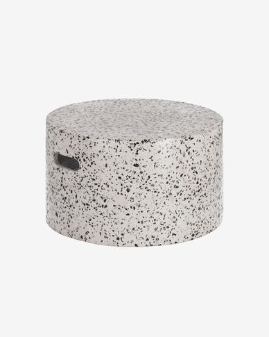 Jenell terrazzo coffee table in white, Ø 52 cm