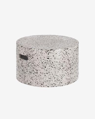 Table basse Jenell en terrazzo blanc de Ø 52 cm