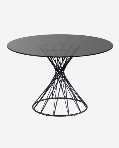 Niut round Ø 120 cm glass table with steel legs with black finish