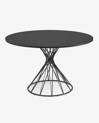 Niut round Ø 120 cm black laquered DM table with steel legs with black finish