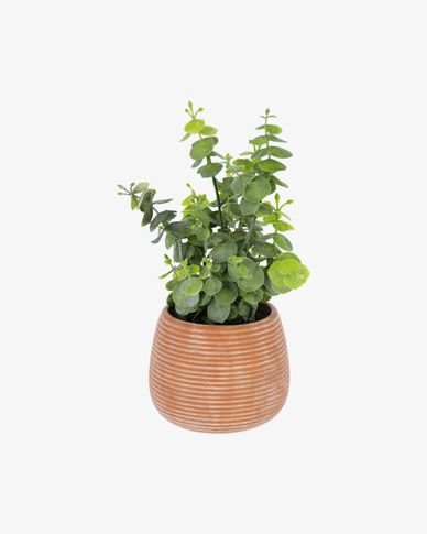 Eucalyptus artificielle en pot marron