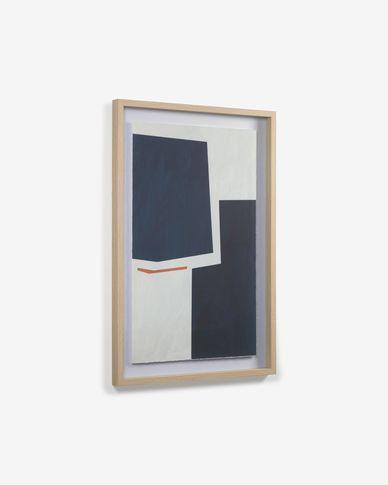 Schilderij Napea met blauwe rechthoeken 60 x 90 cm