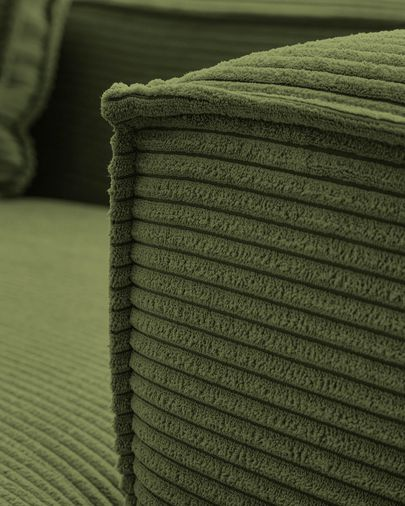Blok 3-seater sofa with left-hand chaise longue in green thick corduroy 300 cm