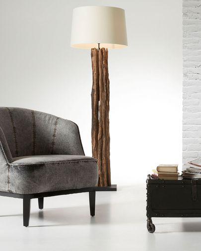 Lámpara de pie Powell de madera reciclada
