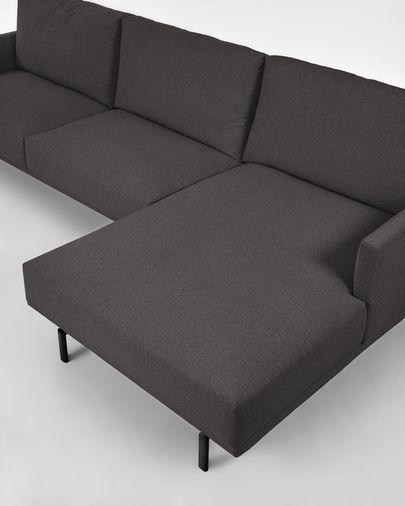 Sofá Galene 4 plazas con chaise longue derecho gris 314 cm