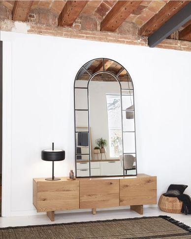 Mueble TV Rasha 3 puertas con chapa de roble con acabado natural 160 x 45 cm