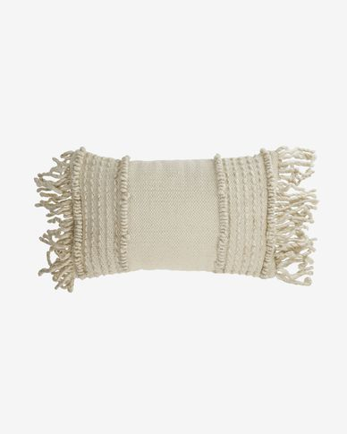Marcie cotton and wool cushion cover in white 30 x 50 cm