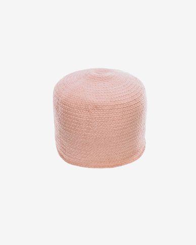 Pouf rond Daiana en coton rose Ø 40 cm