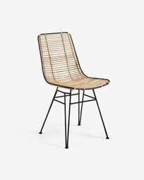 Tishana chair with rattan armrests and black steel finish