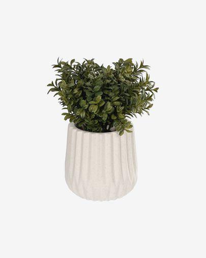 Planta artificial Milan Leaves con maceta de cerámica blanco 23,5 cm