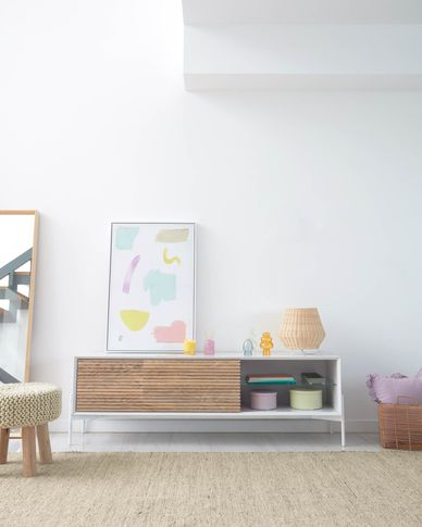 Marielle TV stand made from ash wood with white lacquer 167 x 69 cm