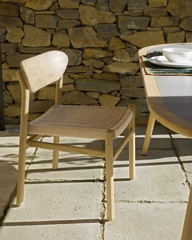 Silla Galit madera maciza eucalipto con acabado natural y cuerda beige FSC 100%