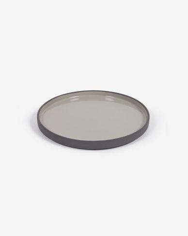 Assiette à dessert Thianela en porcelaine gris