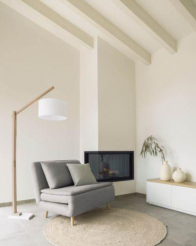 Khina sofa bed in light grey 105 cm