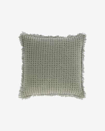 Housse de coussin Shallow 100% coton vert 45 x 45 cm