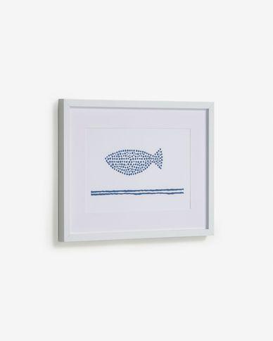 Quadre Kuma peix amb punts blau 30 x 40 cm