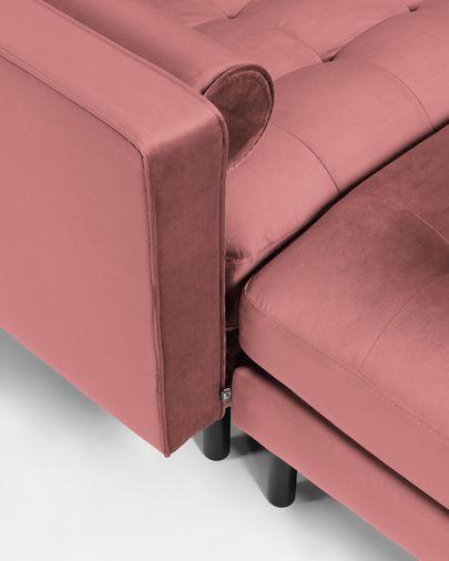Canapé Debra 2 places avec repose-pieds en velours rose 182 cm
