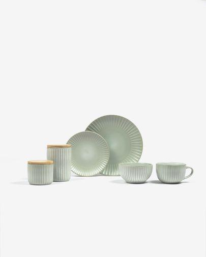Plato plano Itziar de cerámica verde