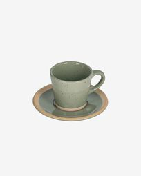 Tilla ceramic coffee cup with plate in dark green