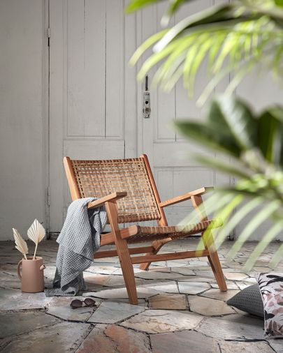 Grignoon armchair in solid acacia wood and woven synthetic rattan FSC 100%