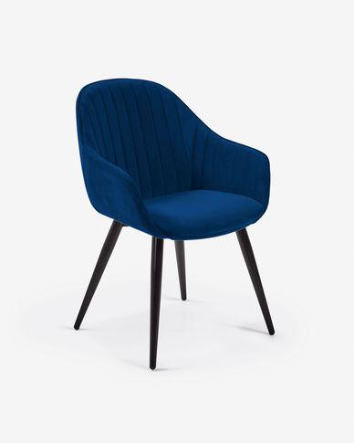 Cadeira Fabia veludo azul
