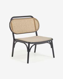 Doriane solid elm easy chair with black lacquer finish and upholstered seat