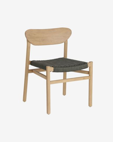 Galit chair made from solid eucalyptus wood with natural finish and green cord