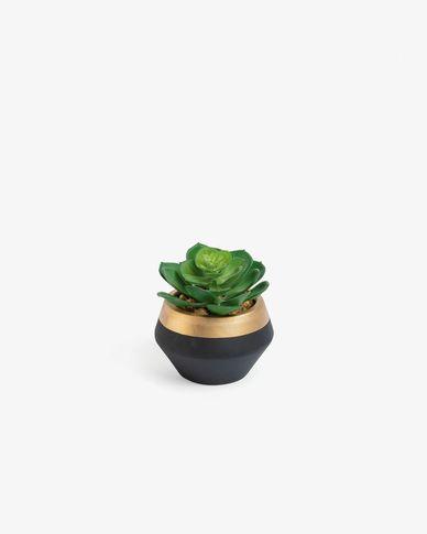 Planta artificial Consolva con maceta de cerámica negro y dorado 10 cm