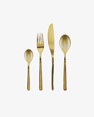 Lite square handle 16-piece golden cutlery set