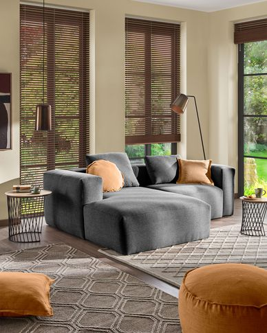 Blok 2-seater sofa with left-hand chaise longue in grey 240 cm
