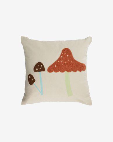 Leshy 100% cotton multi-coloured cushion cover with mushrooms 45 x 45 cm