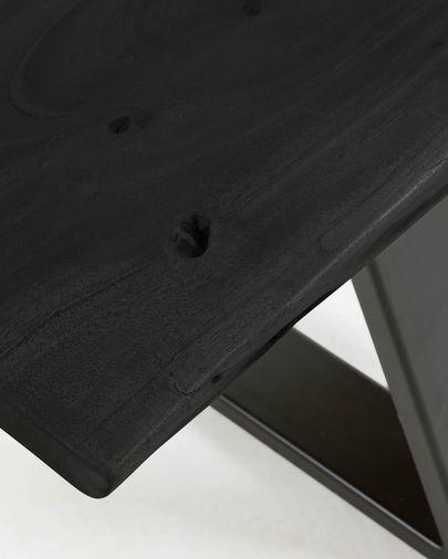 Banco Alaia de madera maciza de acacia negro y patas de acero negro 160 cm