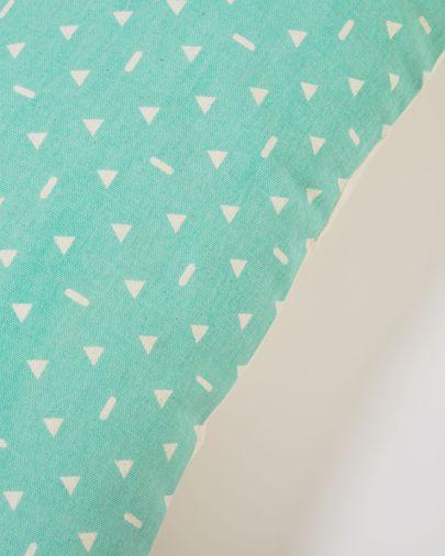 Funda cojín Zale 100% algodón turquesa con triángulos blancos 30 x 50 cm
