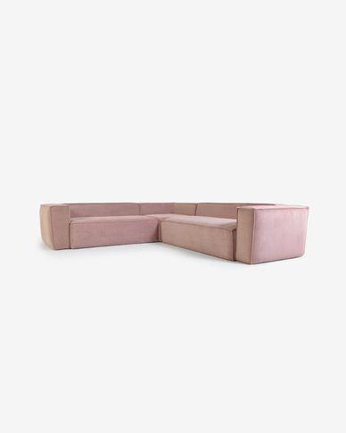 4-zits hoekbank Blok van roze corduroy 290 x 290 cm