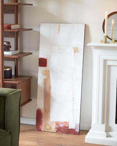 Lienzo Winona blanco, rojo y dorado 50 x 120 cm