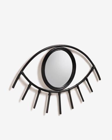 Espejo Maela de ratán 72 x 45 cm negro