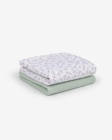 Yamile set van 2 mini handdoeken katoen GOTS in turkoois en wit met grijze bladeren