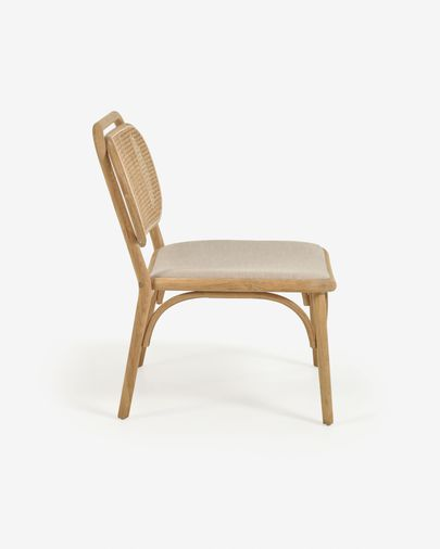 Doriane solid oak easy chair with natural finish and upholstered seat